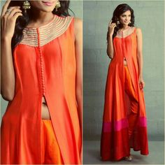Orange Silk Maxi with Aari Work - not a typical Indian attire but adjusts with indian ethics. Mode Bollywood, Bollywood Fashion, Indian Attire, Indian Ethnic Wear, Pakistani Outfits, Indian Outfits, Ethnic Fashion, Asian Fashion, Anarkali