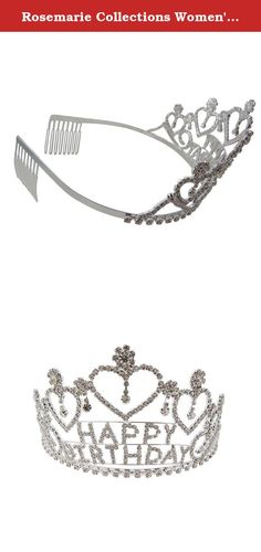 """Rosemarie Collections Women's Crystal Rhinestone """"Happy Birthday"""" Tiara Crown. Rosemarie Collections is a Women Owned Small Business located in the USA! We offer fashionable jewelry and accessories for all occasions, a nice addition to your own collection or a great gift for someone special."""
