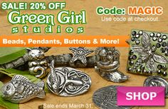 Green Girl Studios Sale at www.beadaholique.com - Save 20% on whimsical pieces from the magical world of Green Girl Studios. Fairies, mermaids, woodland creatures and more for #beading and #DIY #jewelry-making