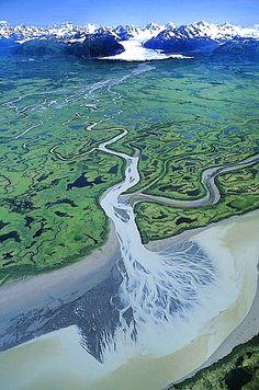 Aerial Photograph of Copper River Delta, Gulf of Alaska Coast Aerial Photography, Landscape Photography, Nature Photography, Night Photography, Landscape Photos, Scenic Photography, Birds Eye View, Aerial View, Ciel