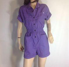 Vintage Purple Pockets Utility Romper #sixcatsfunVINTAGE #utilityromper #playsuit #onesie #sixcatsfun #purple