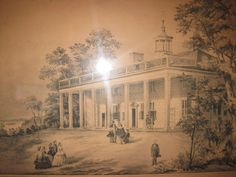 Antique Print of Currier & Ives. The Home of Washington