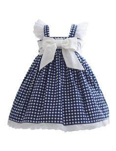 Blue Gingham Dress - Kinder Kouture - August 03 2019 at Toddler Dress, Baby Dress, The Dress, Blue Gingham, Gingham Dress, Navy Blue, Little Girl Dresses, Girls Dresses, Flower Girl Dresses