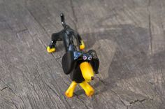 Glass Dachshund Dog Figurine Murano Style by GlassDesignStudioUA