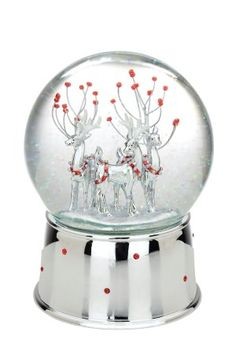 Silverplated Winter Deer Snowglobe