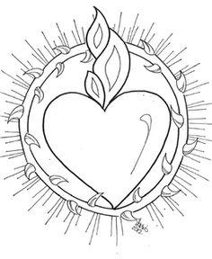 Dibujo para colorear. Inmaculado Corazón de #María. www.evangelizacioncatolica.org