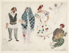 Marc Chagall. A Street Dancer and Gypsies, costume design for Aleko (Scene II). (1942)