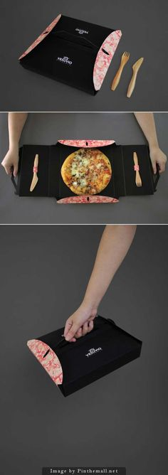 Mini pizza packaging with cutlery and a carry handle. We seem to pin an awful lot of related packaging. Clever Packaging, Innovative Packaging, Food Packaging Design, Brand Packaging, Branding Design, Takeaway Packaging, Packaging Ideas, Karton Design, Wrapping Ideas