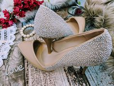 For the contemporary bride with a traditional twist, these hand embellished nude patent mid heels offer a modern elegance with a timeless grace. Adorned with over 3000 hand embellished pearls in champagne and ivory. Ideal for off-colour, champagne or blush pink bridal gowns.  Wedding shoes bridal fashion custom shoe service available Women's Closed Toe Pumps jewel pearl and tan patent Heel Stiletto Heel Satin Rhinestone Wedding alternative Shoes Bridal Shoes, Wedding Shoes, Bridal Gowns, Patent Heels, Stiletto Heels, Pumps, Alternative Shoes, Special Occasion Shoes, Rhinestone Wedding