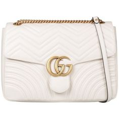 Gg Marmont Large Shoulder Bag (7.565 RON) ❤ liked on Polyvore featuring bags, handbags, shoulder bags, bianco, white shoulder handbags, shoulder bag purse, gucci handbags, gucci shoulder handbags and gucci purse
