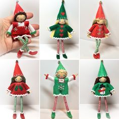 Large bendy Elves by PNTdolls. Each elf is about 6 inches tall from the top of it's hat to the tip of it's toe. Great for a holiday kindness tradition or mischief and hijinks. Handmade in St Louis. Www.pntdoll.com