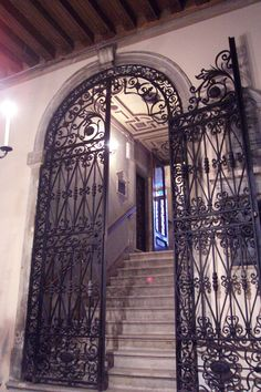 Scuola Grande Spagnola — Jewish Ghetto, Venice, Italy – The bronze or wrought–iron gate that leads up the stairs to the synagogue was made in a style that resembles gates in large private homes and public buildings, especially in the south of Spain. Beautiful Places In The World, Places Around The World, Ancona Italy, Jewish Synagogue, Jewish Ghetto, Best Of Italy, South Of Spain, Place Of Worship, Venice Italy