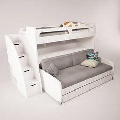 Brayden Studio Gautreau Twin Bunk Bed over Full XL Sofa Bed, Table and Trundle Twin Futon, Futon Bunk Bed, Bunk Bed With Trundle, Cool Bunk Beds, Twin Bunk Beds, Kids Bunk Beds, Adult Bunk Beds, Teen Room Decor, Bedroom Decor