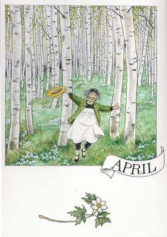 Avril ✿Vive le printemps✿  par Lena Anderson (1939) illustratrice suédoise.