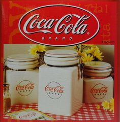 Vintage Coca Cola Cafe Canister Set Locking Stoneware Gibson 2000 Dinnerware NEW Canister Sets, Canisters, Coca Cola Kitchen, Always Coca Cola, World Of Coca Cola, Vintage Coke, Ebay Shopping, Precious Moments Figurines, Cookie Jars