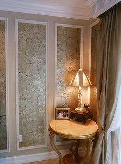 We look the use of @innovationsusa Metallessence Cork wallcovering in dining room wall panels by Inviting Home
