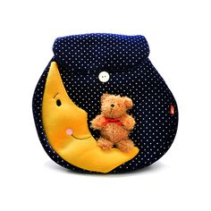 DYNKY Moon and Bear Polkadot Back Pack - Blue - Equal World