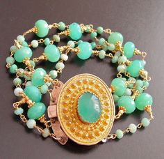 Ursula Bracelet- Antique Pinchbeck Clasp with Four Strand Chrysoprase