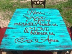 BLESS THE FOOD BEFORE US....we are in Love with this Decal & Table! How about you? You can use this decal to create a similar design on any table you want. (affiliate link)