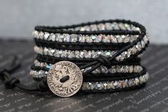 wrap bracelet clear aurora borealis crystal on by CorvusDesign, $55.00