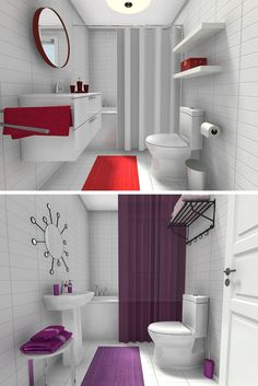 What color would you use to update a #whitebathroom? For more ideas on how to decorate your bathroom with color - http://www.roomsketcher.com/blog/white-bathroom-update/ #bathroomideas #bathroomcolors #bathroomdecorating