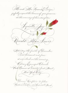 Our exquisite wedding invitation with hand-painted roses & calligraphy, from Marie of Pendragon Ink