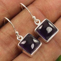 Natural AMETHYST Gemstones 925 Sterling Silver Little Cute Earrings ! Wholesale #Unbranded #DropDangle