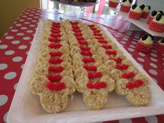 Rice Krispie treats at a Mickey & Minnie Mouse birthday party! See more party ideas at CatchMyParty.com!