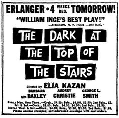 "Promotional Ad for the 1959 Premiere Chicago Production of the William Inge play ""The Dark at the Top of the Stairs"" at the Erlanger Theatre."