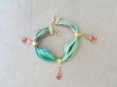 Green Tie Dye Shibori Silk Satin Ribbon by AshleyTorreyDesigns, $23.00
