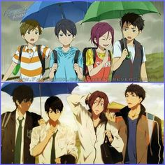 Free! and Free! ES ~~ Umbrellas :: Makoto, Haruka, Rin and Sosuke