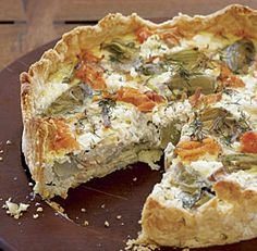 Smoked Salmon, Goat Cheese, and Artichoke Quiche:  Wonderful for a Mother's Day brunch in bed. Via FineCooking