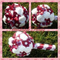 wine red- colour  & white satin bouquet