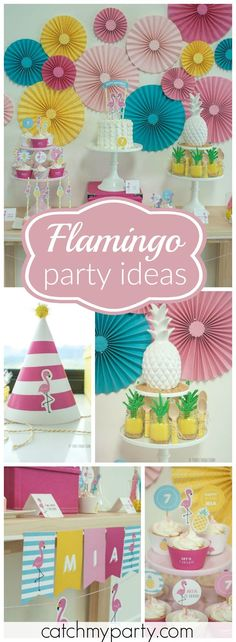 The guests flamingle at this tropical flamingo party full of vibrant color! See more party ideas at Catchmyparty.com!