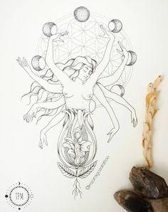 Sagrado Feminino TPM - Tatuagem Para Mulheres por Mariana Zaragoza Time Tattoos, Body Art Tattoos, Sleeve Tattoos, Mutter Erde Tattoo, Mother Earth Tattoo, Tattoo Feminin, Sacred Feminine, Flower Tattoos, Graphic