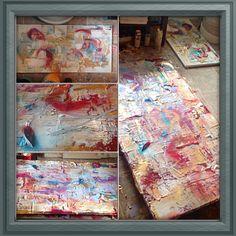 """silver lining"" -mj  5'x2' & 1.5'x2.5'  $950 for the pair: mj@next-level-art.com #art #abstractart #abstract #metallics #hot #painting #inspiring #elegant"