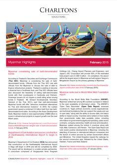 Myanmar Highlights - 9 February 2015 - Myanmar considering sale of baht-denominated bonds
