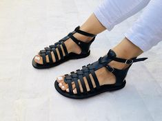 Gladiator Leather Sandals, Greek Sandals, Black Sandals, Summer Shoes, Made from 1005 Genuine Leather. Leather Gladiator Sandals, Black Leather Sandals, Black Sandals, Greek Sandals, Summer Shoes, Summer Sandals, Outfit Summer, Hypebeast, Peep Toe