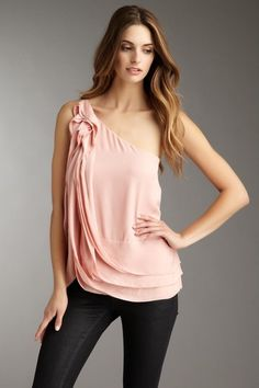love the ruffle detail and soft pink color - BCBGMAXAZRIA Ruffle Shoulder Top by Labels We Love on @HauteLook
