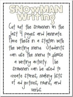 Snowman Writing Activity