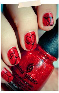 China Glaze  - valentine nails