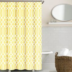 Shop for Echelon Home Irving Place Geometric Print Shower Curtain. Get free delivery On EVERYTHING* Overstock - Your Online Shower Curtains & Accessories Store! Get in rewards with Club O! Yellow Shower Curtains, Fabric Shower Curtains, Yellow Bathrooms, White Bathroom, Brass Bathroom, Basement Bathroom, Small Bathroom, Contemporary Shower, White Shower