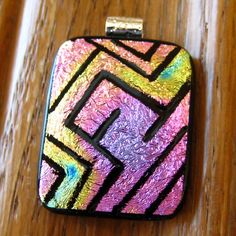 Dichroic Fused Glass Zentangle Pendant Fused Glass  by GlassCat, $30.00
