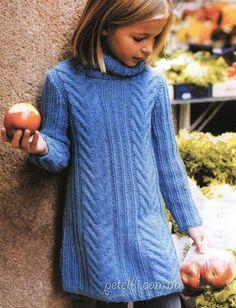 Теплое платье для девочки 6 - 8 - 10 -12 лет. Описание вязания, схема