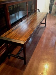 Reclaimed bowling alley bench