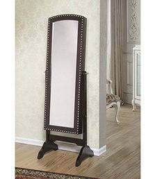 awesome W Unlimited Abby Classic Long Cheval Mirror Jewelry Cabinet Armoire for Necklaces, Rings, Earrings, Bracelets Storage Organizer Stand, Espresso
