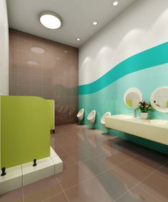 This is a high quality preschool interior design for kids , designed by 61 space design company in nanjing china , all what we design is for high quality learning. Washroom Design, Toilet Design, Bathroom Interior Design, Kindergarten Interior, Kindergarten Design, Masonite Interior Doors, Space Preschool, Daycare Design, Kids Toilet