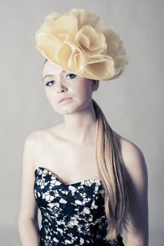 Jess  Large Yellow Sinamay Flower Custom Made by MillineryByCarrie, £149.00