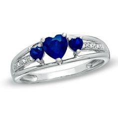 Heart-Shaped Lab-Created Sapphire Three Stone and Diamond Accent Ring in Sterling Silver - Zales