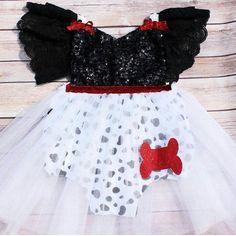 c73371e3ec86 Sweet   Glam Dalmatian tutu sequin romper made by Belle Threads